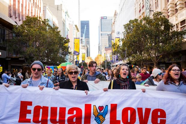 Equal Love marriage equality rally on May 20, 2017 in Melbourne, Australia.