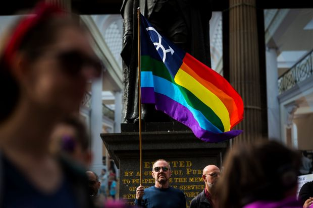 Melbournians show their support for Equal Love marriage rights during an equality rally on May 20, 2017 in Melbourne, ...