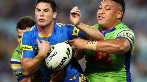 Frustrating night: Mitchell Moses spills the ball under pressure.