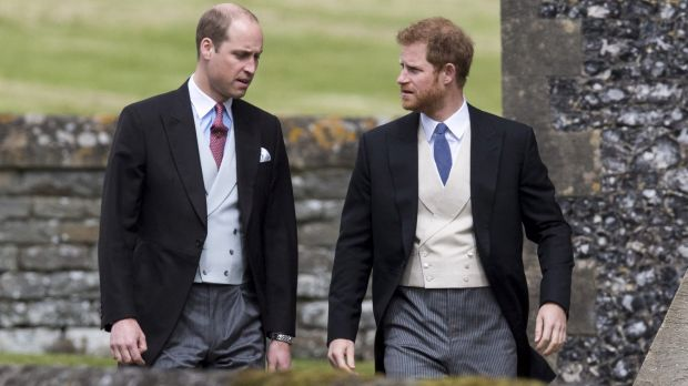 Prince William, Duke of Cambridge and Prince Harry arrive for the wedding ceremony of Pippa Middleton to James Matthews.