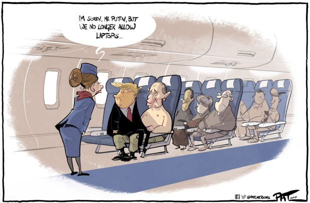 The Canberra Times editorial cartoon for Monday, May 22, 2017. Donald Trump on a plane, sitting on Vladimir Putin's lap. ...