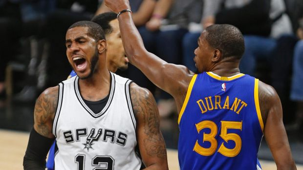 Ups and downs: LaMarcus Aldridge and Kevin Durant.