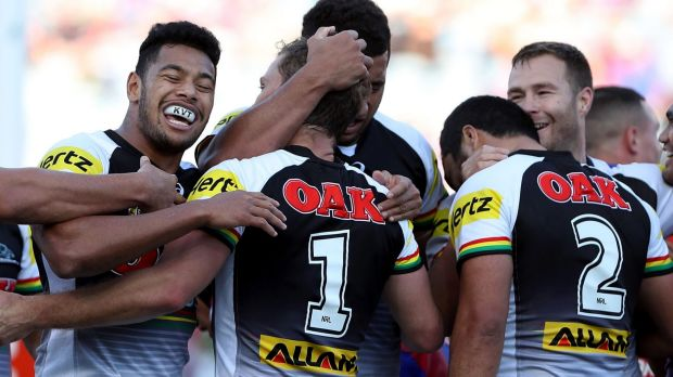 Houdini act: Panthers players celebrate a try en route to an improbable comback.
