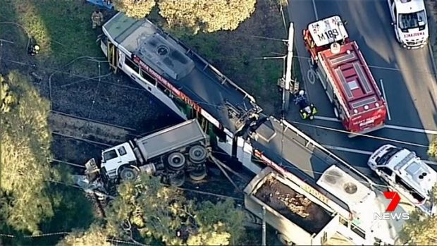 Truck and packed tram collide leaving 29 injured