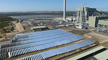 Solar panels lie in waste at Kogan Creek Power Station, near Chinchilla