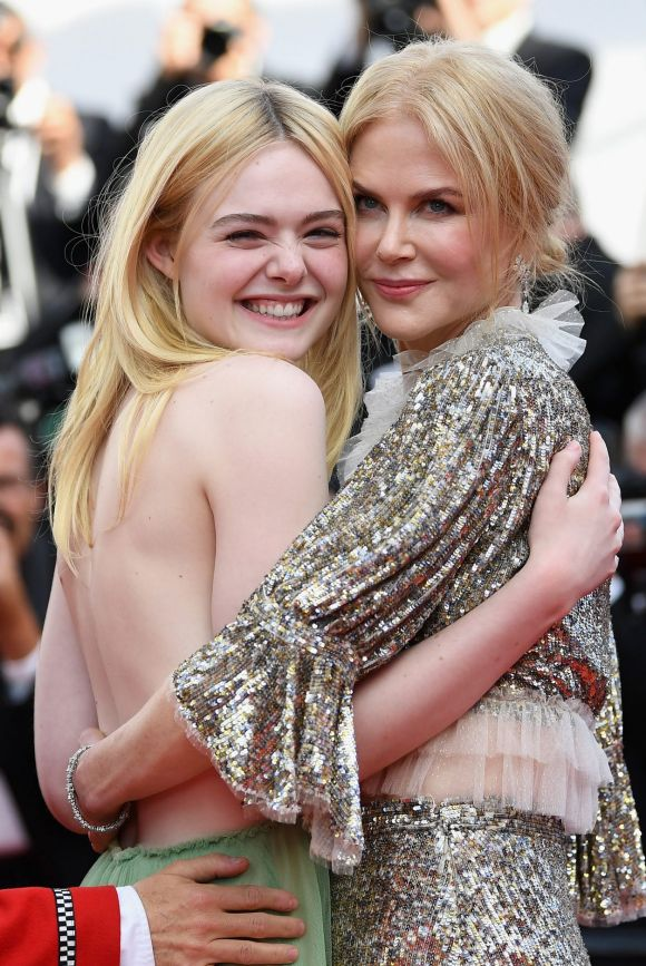 """Unlikely BFFs of Cannes goes to actresses Elle Fanning and Nicole Kidman who attend the """"How To Talk To Girls At ..."""