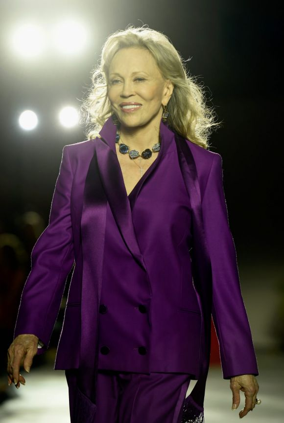 Faye Dunaway walks the runway at the Fashion for Relief event during the 70th annual Cannes Film Festival.
