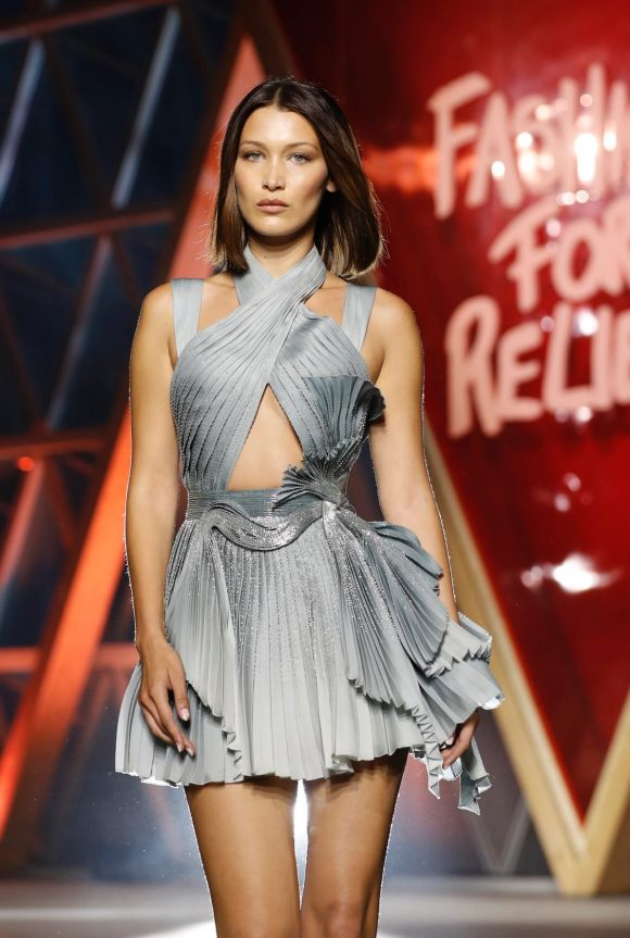 Bella Hadid walks the runway at the Fashion for Relief event.
