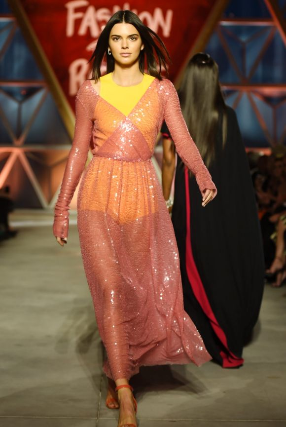 Kendall Jenner walks the runway at the Fashion for Relief event.