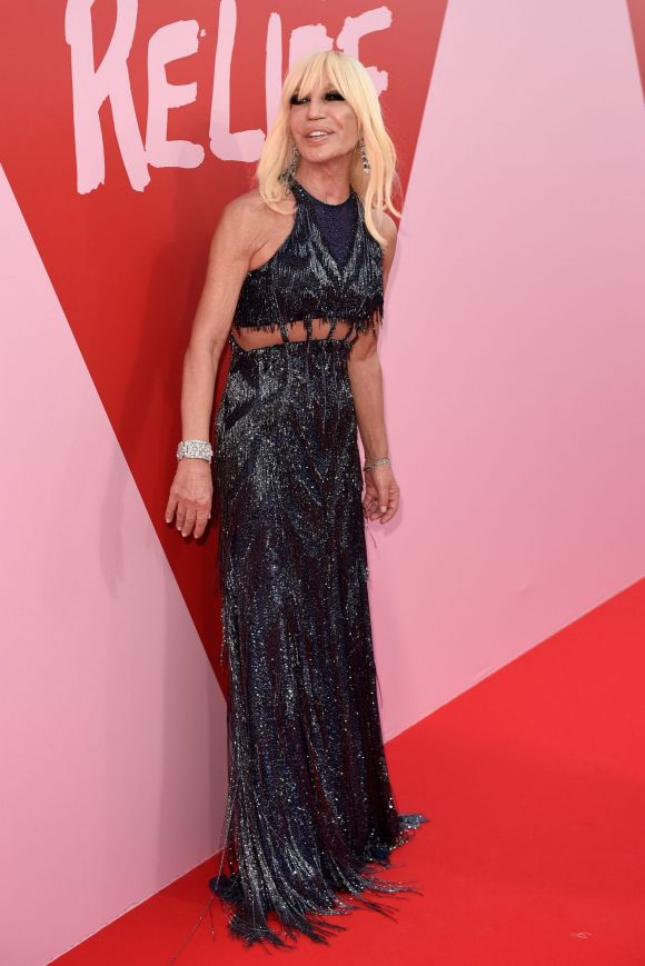 Donatella Versace attends the Fashion for Relief event during the 70th annual Cannes Film Festival.