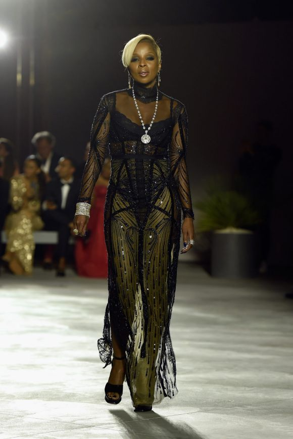 Mary J. Blige walks the runway at the Fashion for Relief event during the 70th annual Cannes Film Festival.