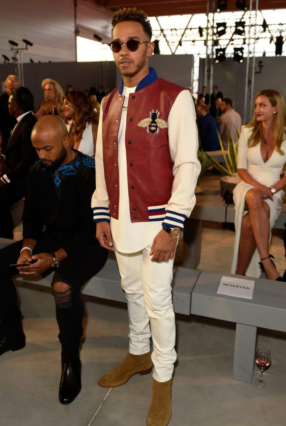 Lewis Hamilton attends the Fashion for Relief event during the 70th annual Cannes Film Festival.