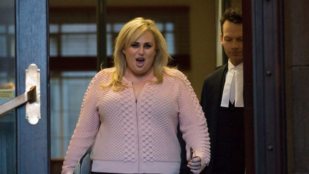 Rebel Wilson leaves the Supreme Court in Melbourne on Monday.