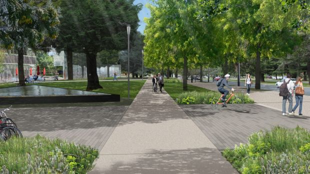 The double paths planned for either side of Kings and Commonwealth avenues.