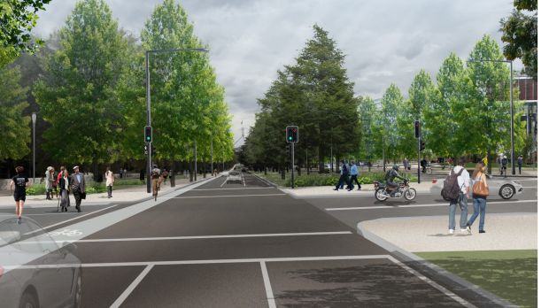 The reconfigured roadways for Kings and Commonwealth avenues, with narrower lanes, more pedestrian and cycleways and a ...