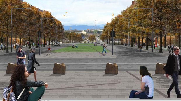 Looking towards Parliament House from the proposed Blamey Square on Kings Avenue.