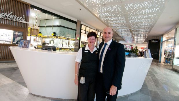 Long-serving staff member Sue-Ellen Duby (left) and Westfield Chermside centre manager Garth Haslam (right).