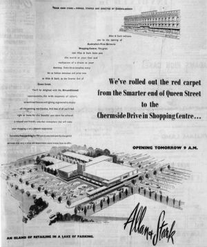 "The ground-breaking shopping centre was described as ""an island of retailing in a lake of parking"" on this promotional ..."