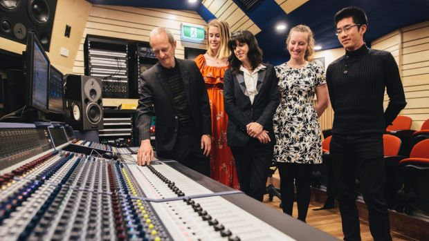 ANU School of music's Ken Lampl and Samantha Bennett with students Amy Jenkins (second from left) Jacqui Douglas (second ...