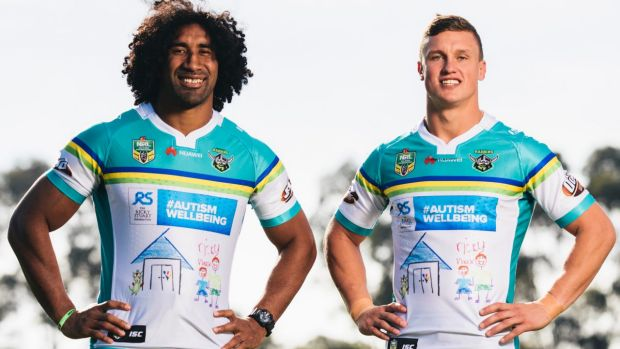 Canberra Raiders' Sia Soliola and Jack Wighton showing off the special Ricky Stuart Foundation jersey.