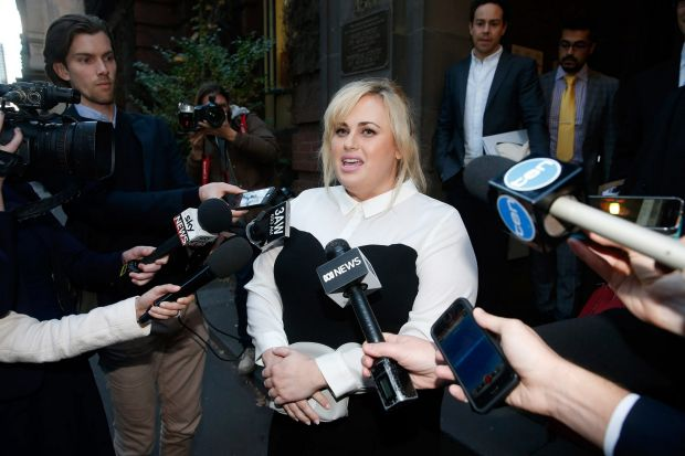 Rebel Wilson talks to the media outside the Supreme Court on Tuesday.