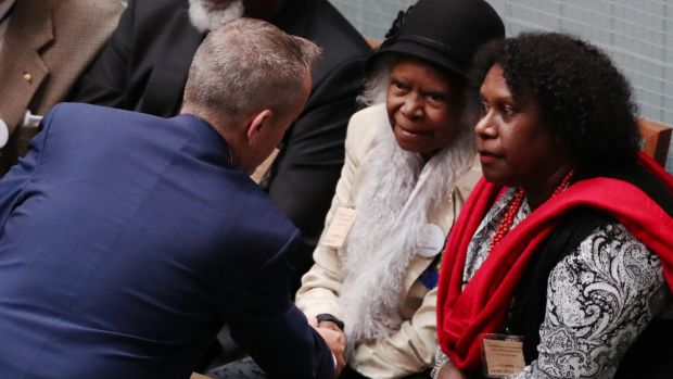 Opposition Leader Bill Shorten with Bonita Mabo after an address on the 50th anniversary of the 1967 referendum at ...