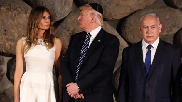 Donald and Melania Trump, next to Israeli PM Benjamin Netanyahu on tour in Israel, has made the defence of Israel on the ...
