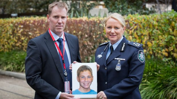 International Missing Children's Day family spokesperson Michael Macintosh, in Canberra with an age-progressed ...