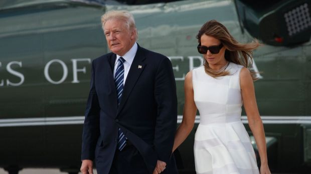 Donald Trump and Melania walk from Marine One to board Air Force One in Jerusalem and make a point of holding/grabbing hands.