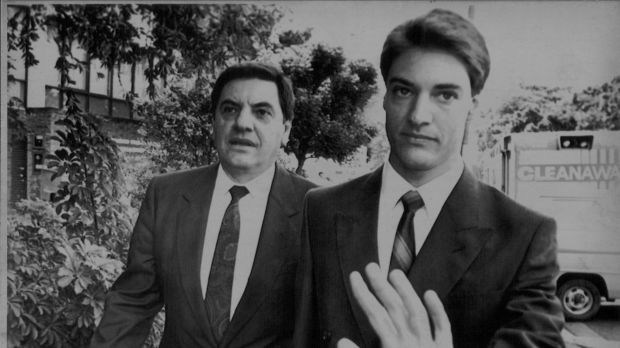 Dismissed Supreme Court Justice Angelo Vasta, with his son Ross (a current federal MP), arrives at court in 1990.