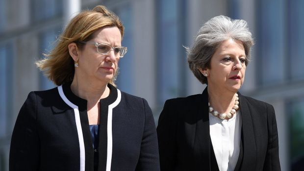 Home Secretary Amber Rudd (left) with Prime Minister Theresa May in Manchester on Tuesday.