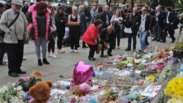 Flowers placed at a vigil in Albert Square, central Manchester, for the 22 people killed in the blast.