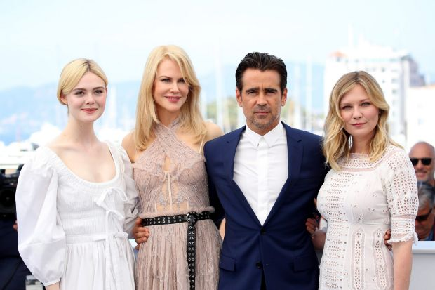 """Actors Elle Fanning, Nicole Kidman, Colin Farrell and Kirsten Dunst attend """"The Beguiled"""" photocall."""