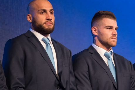 Blues brothers: Josh Dugan, Blake Ferguson and Jarryd Hayne during the NSW team announcement at The Star.