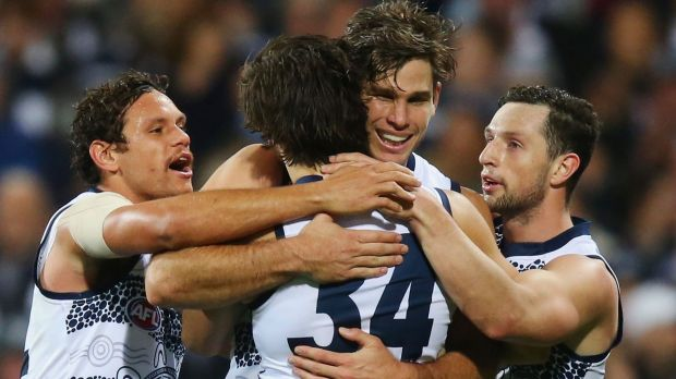 The Cats celebrate a goal by James Parsons.