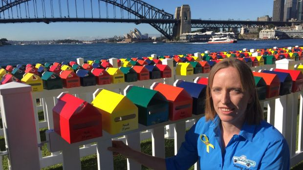 Erin Vassallo with the Fatality Free Friday letterboxes, each of which represents a death on NSW roads in 2016. Ms ...