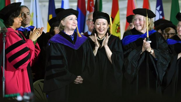 Mrs Clinton encouraged students to embrace a life of public service.