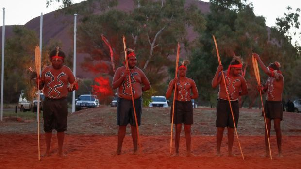 Mutitjulu men performing during the opening ceremony of the First Nations National Convention.
