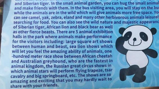 "Tourist attraction: The park promotes the ""race show"" between cheetah and greyhound in its brochure."