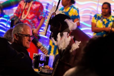 The Prime Minister Malcolm Turnbull watches a traditional Torres Straight islander dance at the The National ...