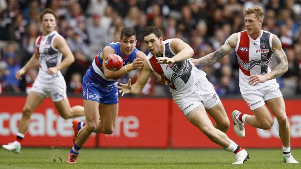 Bulldog Marcus Adams challenges St Kilda's Paddy McCartin, who struggled to fill the void left by Nick Riewoldt.
