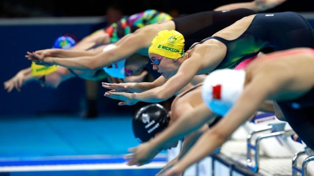 Swimmers start the 200-metre freestyle semifinal at the Rio Olympics.
