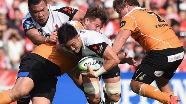 Shokei Kin looks to find a way through the Cheetahs defence.