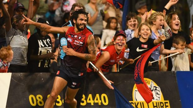 Jeff Garlett celebrates one of his five goals against Gold Coast.