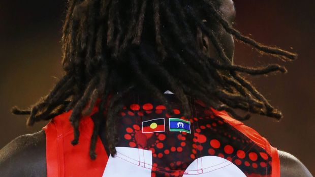 The Indigenous flag colours on the guernsey of Anthony McDonald-Tipungwuti.