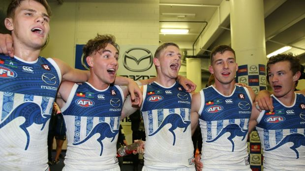 Jack Ziebell and his Kangaroos teammates sing the song in the rooms after seeing off a resurgent Blues outfit.