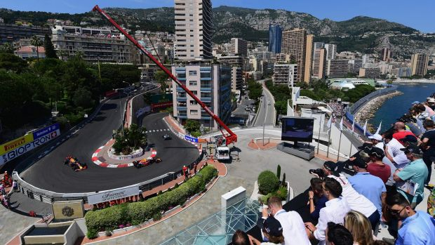 Spectators get a bird's eye view at one of the world's most famous race tracks.