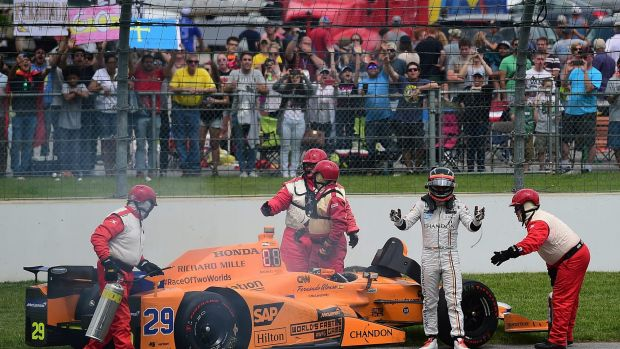 The more things change ... Fernando Alonso exits after engine failure.