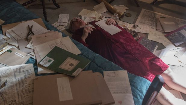 Flat out: Brian Cox as Winston Churchill at work in his office.