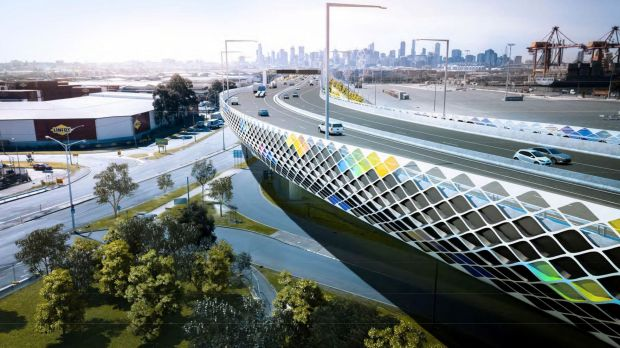 An artist's impression of the Footscray Road elevated freeway.